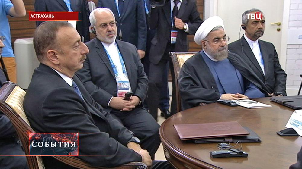 Президент Азербайджана Ильхам Алиев и президент Ирана Хасан Роухани