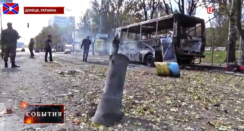 Последствия обстрела Нацгвардией Украины жилых районов Донецка