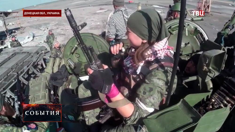 Бойцы народного ополчения Новороссии в Донецкой области