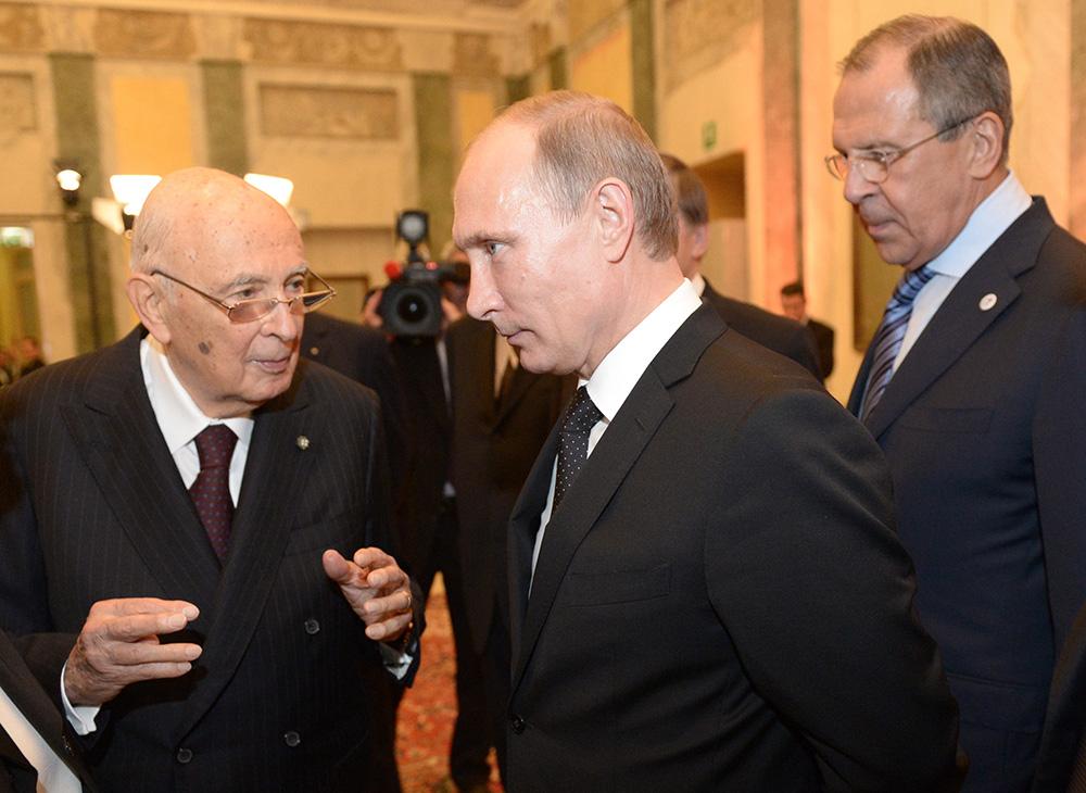 Президент России Владимир Путин и президент Италии Джорджо Наполитано