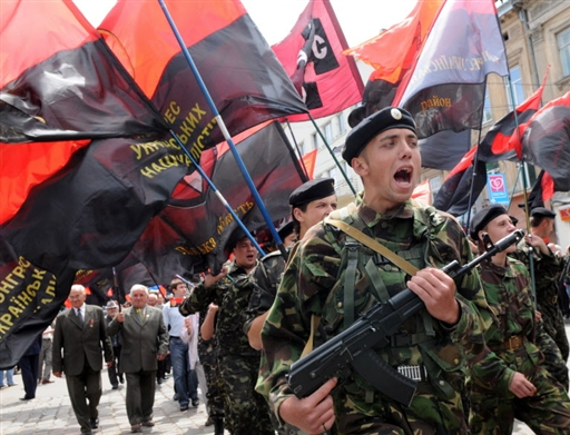 Члены украинской националистической организации УНА-УНСО