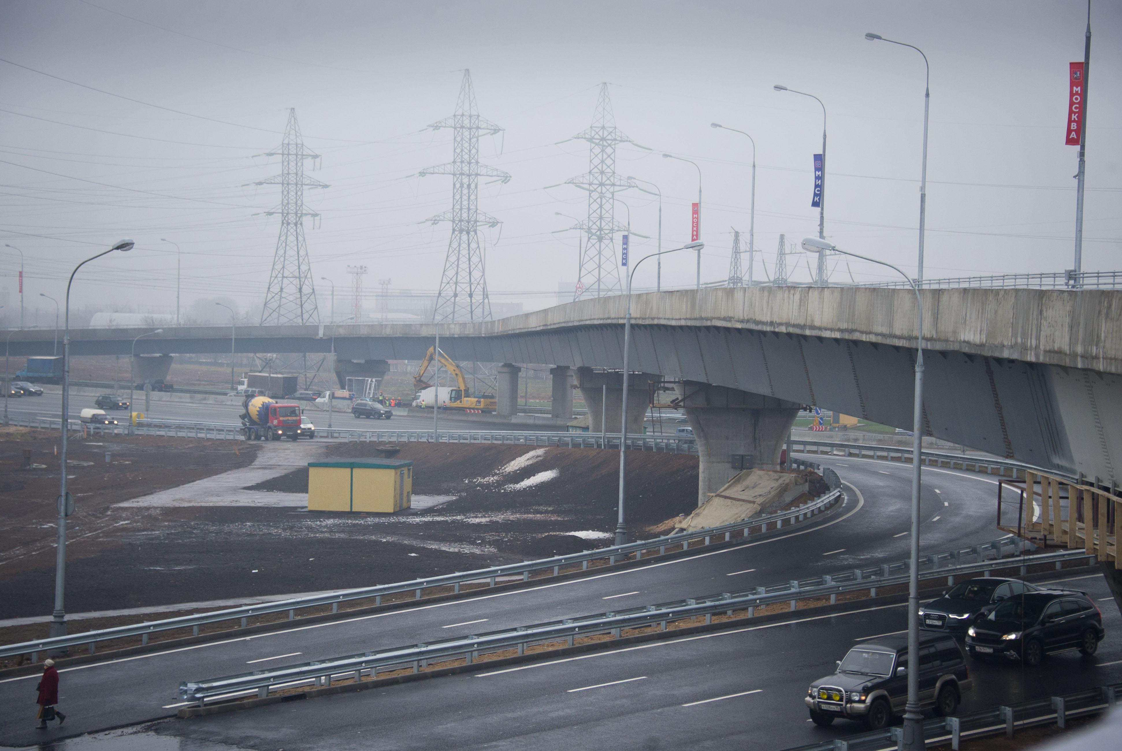 Открытие эстакады на транспортной развязке на пересечении МКАД с Мичуринским проспектом