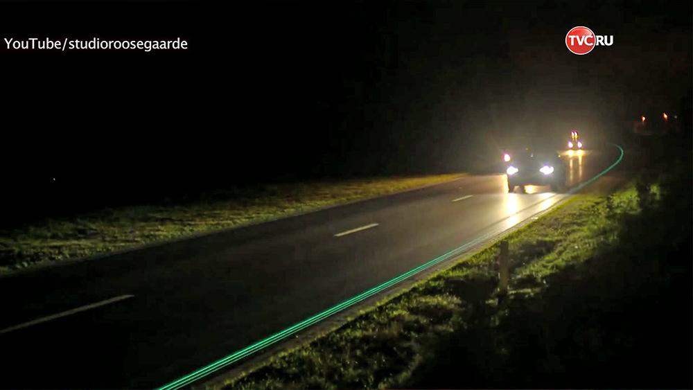 В Нидерландах открылась первая в мире светящаяся дорога