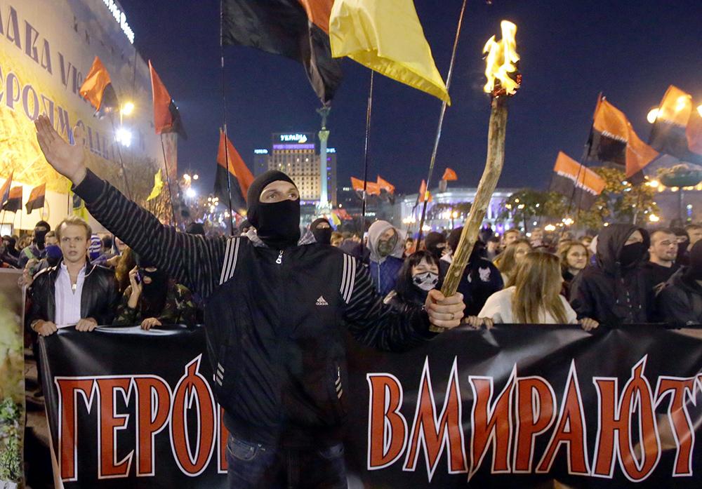 """Шествие """"Правого сектора"""" по случаю годовщины создания УПА"""