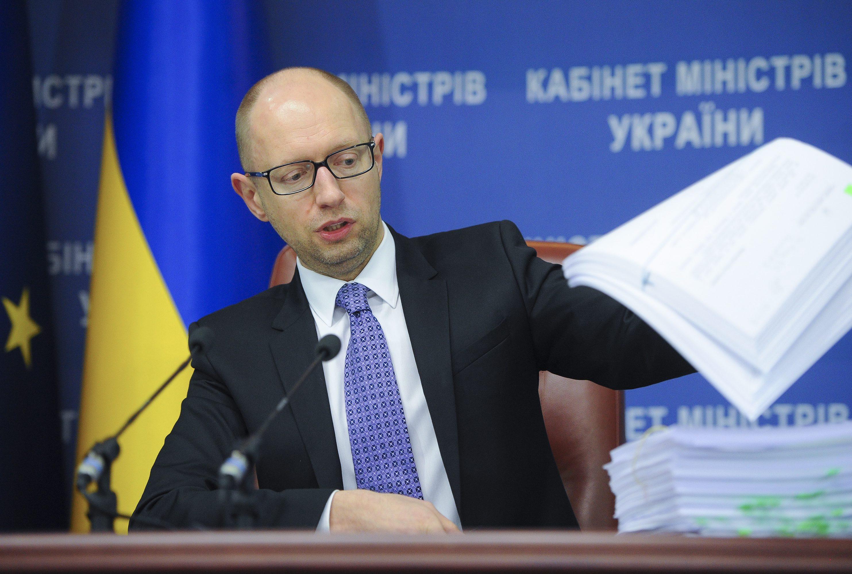 Премьер-министр Украины Арсений Яценюк на пресс-конференции