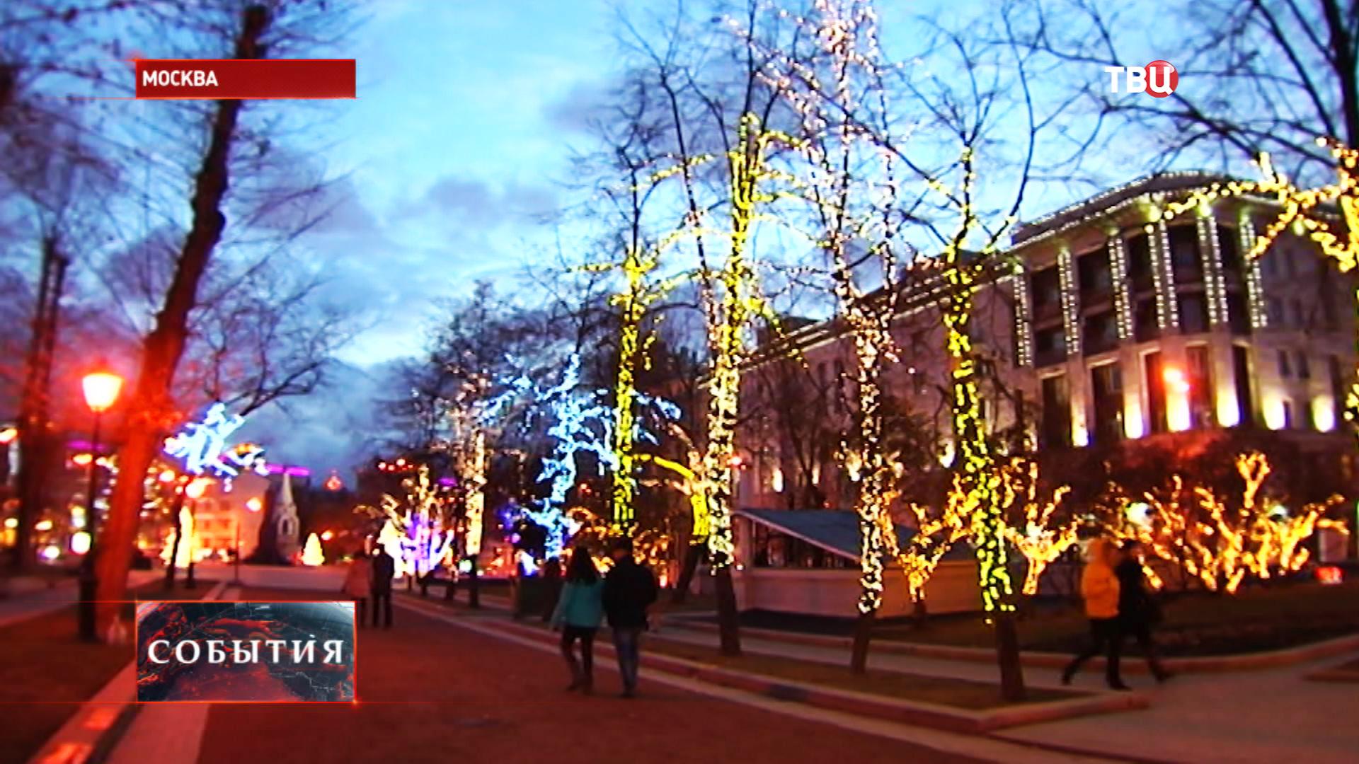 Зимнее световое оформление в Москве