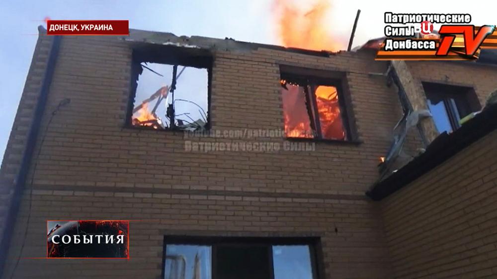 Последствия обстрела жилых кварталов Донецка