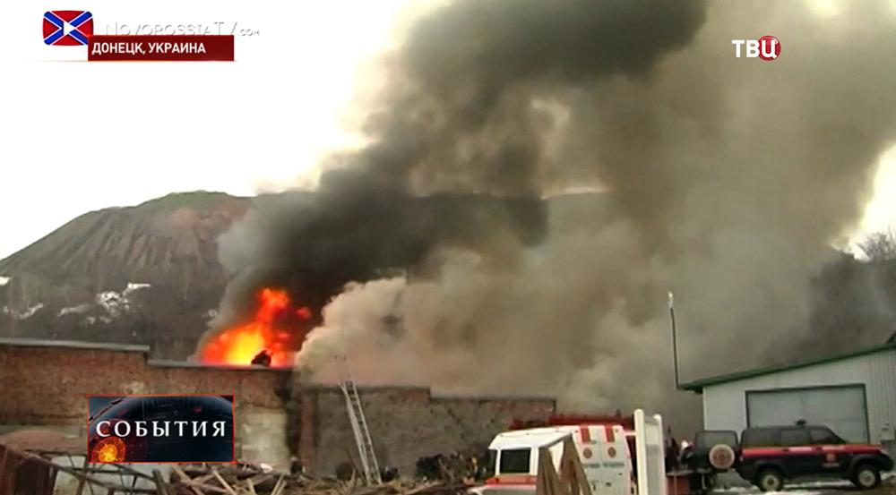 Последствия обстрела кварталов Донецка