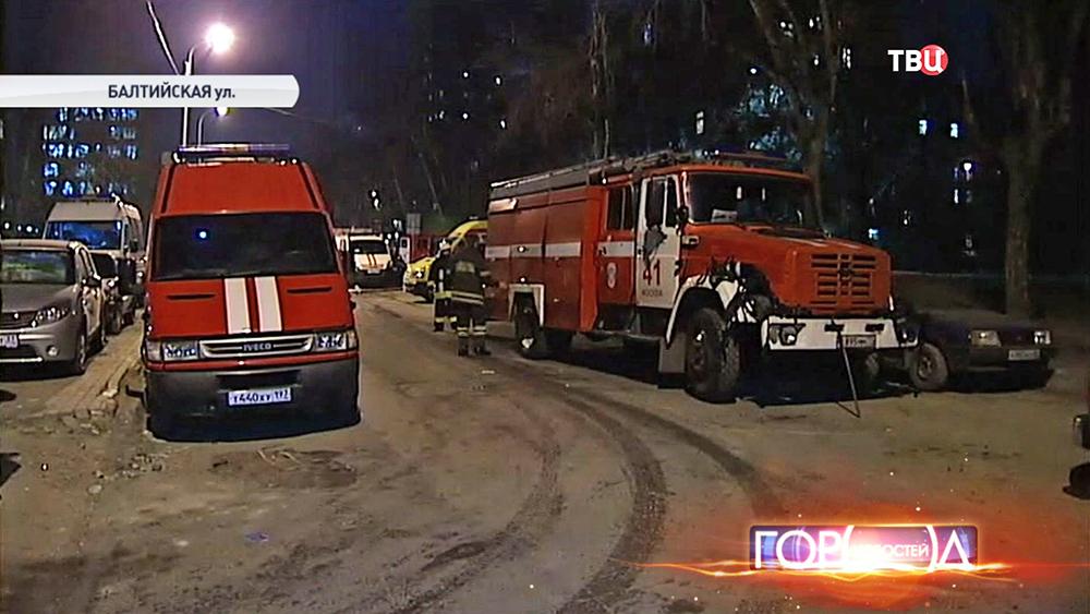 Пожарные машины на Балтийской улице