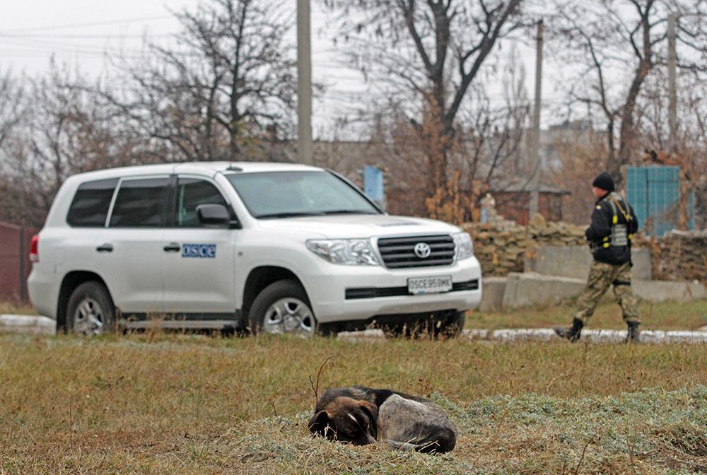 Машина международной миссии ОБСЕ на юго-востоке Украины