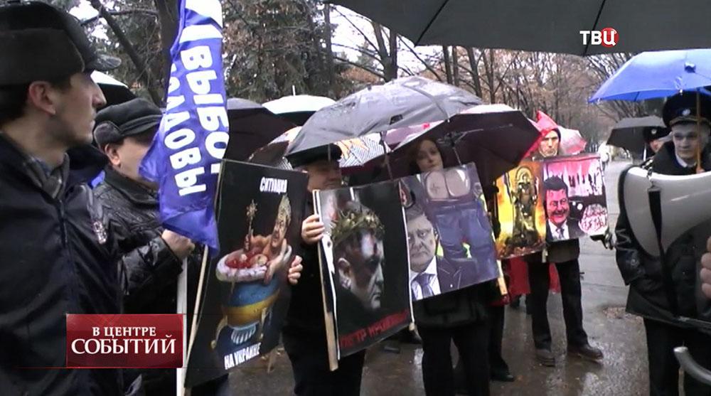 Митинг в Молдавии против приезда президента Украины Петра Порошенко