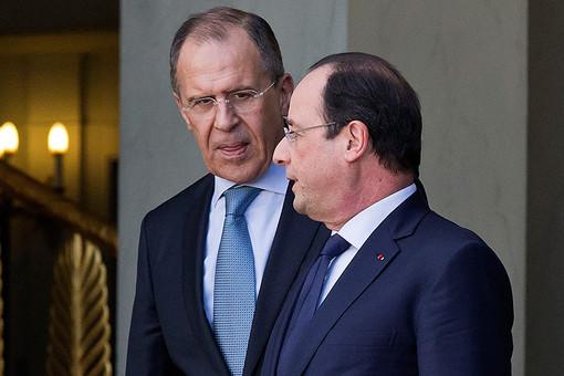 Глава МИД России Сергей Лавров и президент Франции Франсуа Олланд