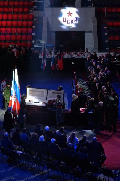 Церемония прощания с советским хоккеистом, заслуженным тренером СССР Виктором Тихоновым