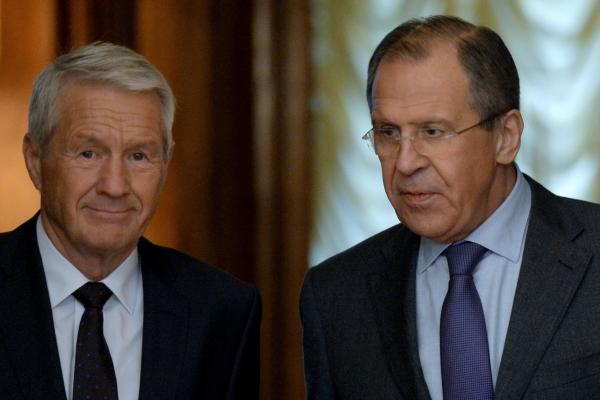 Министр иностранных дел России Сергей Лавров и генеральный секретарь Совета Европы Турбъерн Ягланд