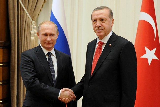 Владимир Путин с президентом Турции Реджепом Тайипом Эрдоганом