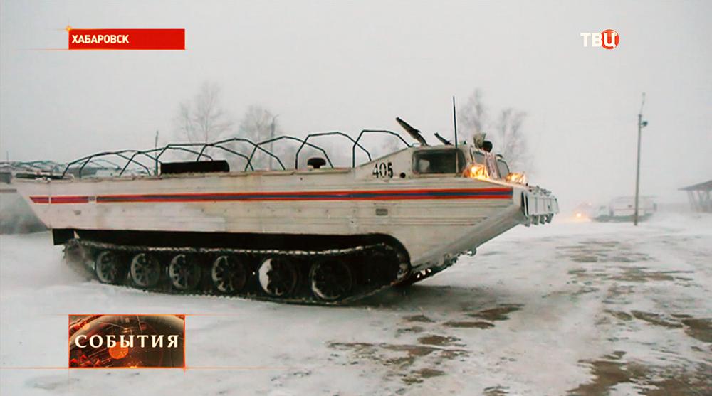 Устранение сильного снегопада в Хабаровске