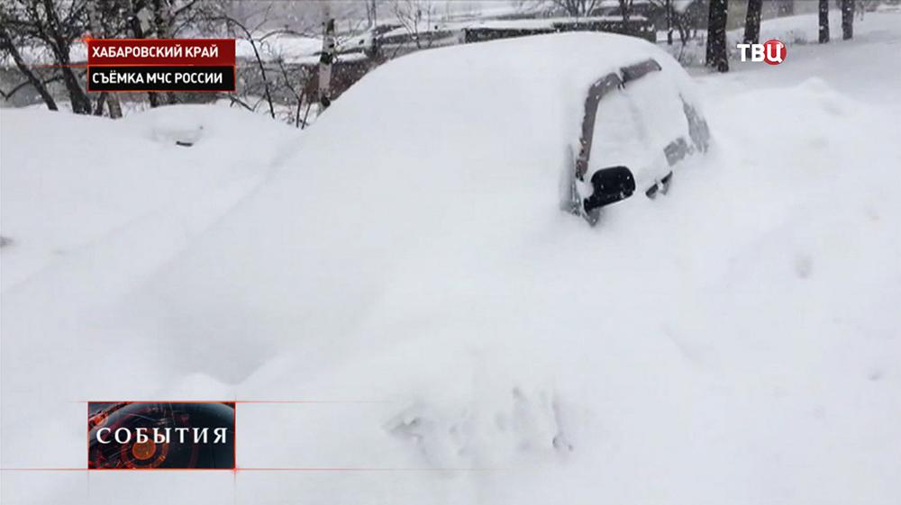 Последствия снегопада в Хабаровском крае