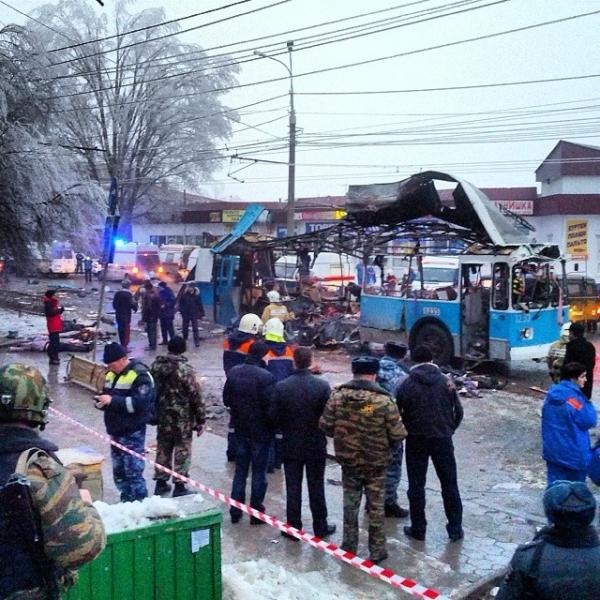 На месте взрыва в троллейбусе в Волгограде