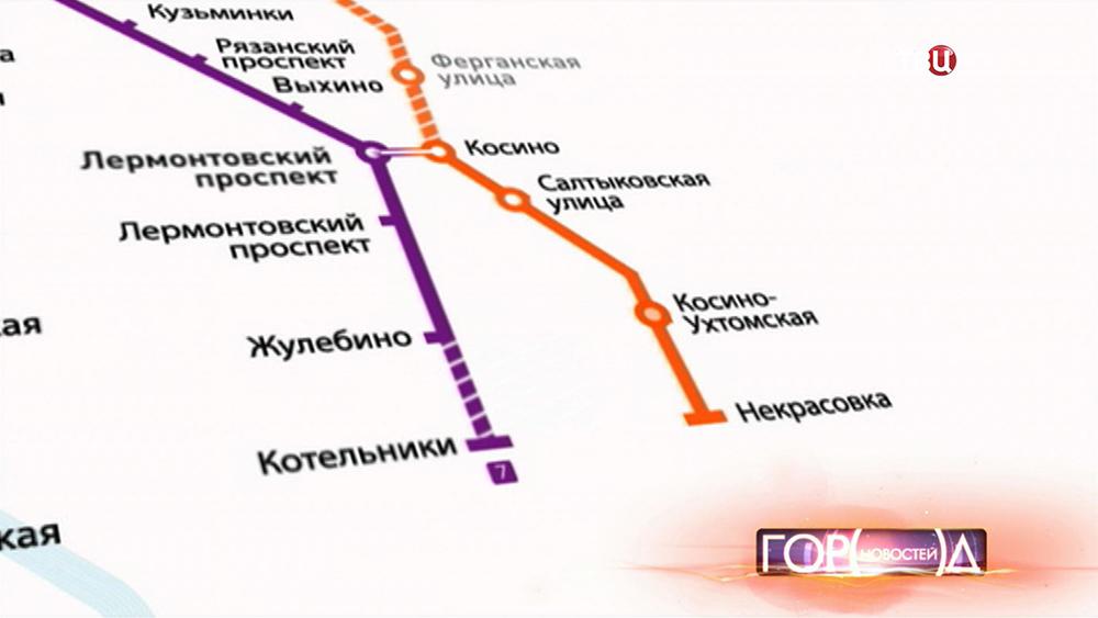 """Станция метро """"Котельники"""" на карте"""