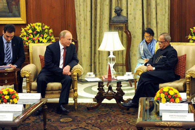 Встреча президента Росии Владимира Путина с Президентом Индии Пранабом Мукерджи
