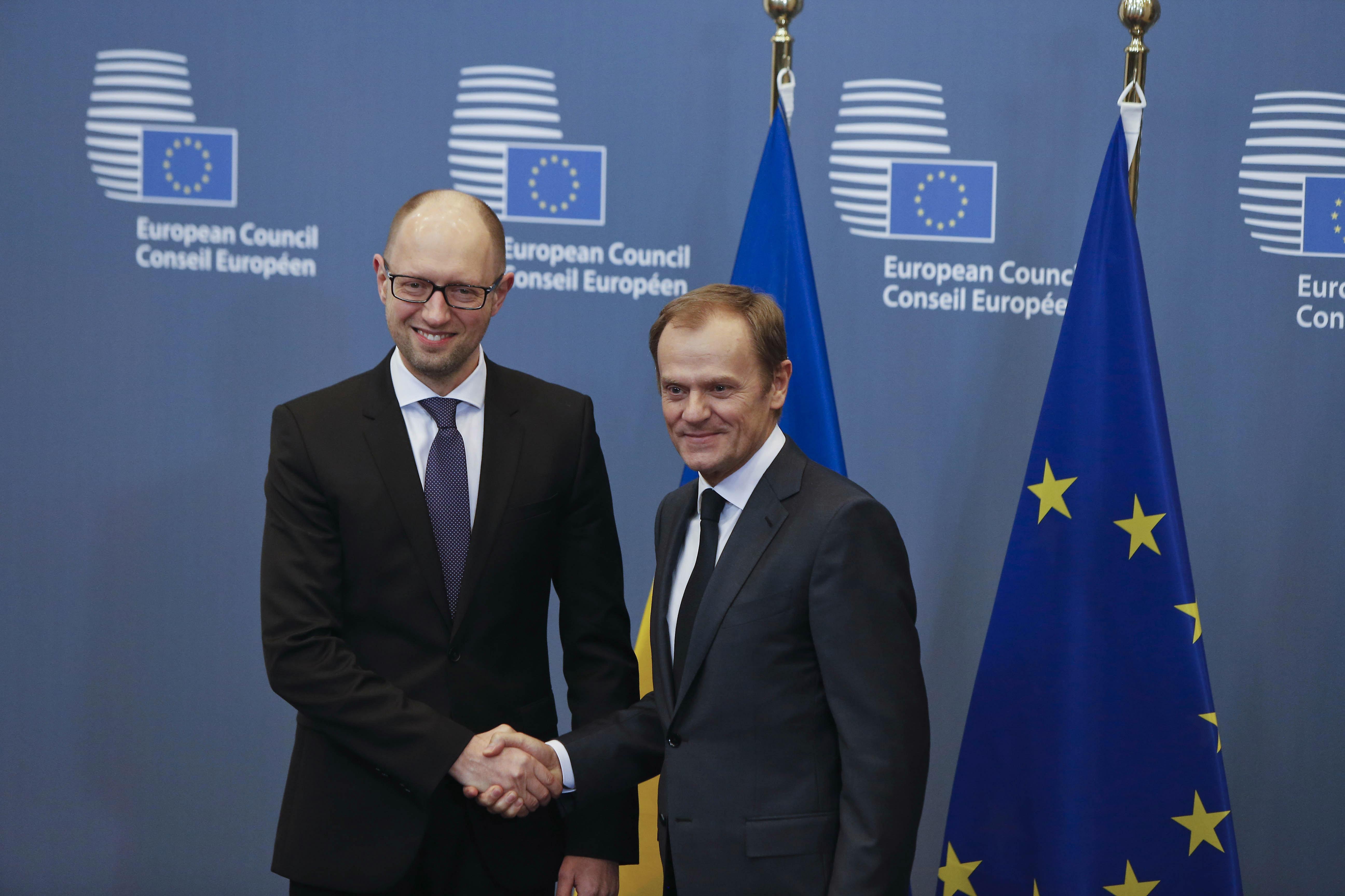 Председатель Европейского совета Дональд Туск и премьер-министр украины Арсений Яценюк
