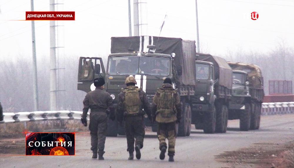 Автоколонна с украинскими военными