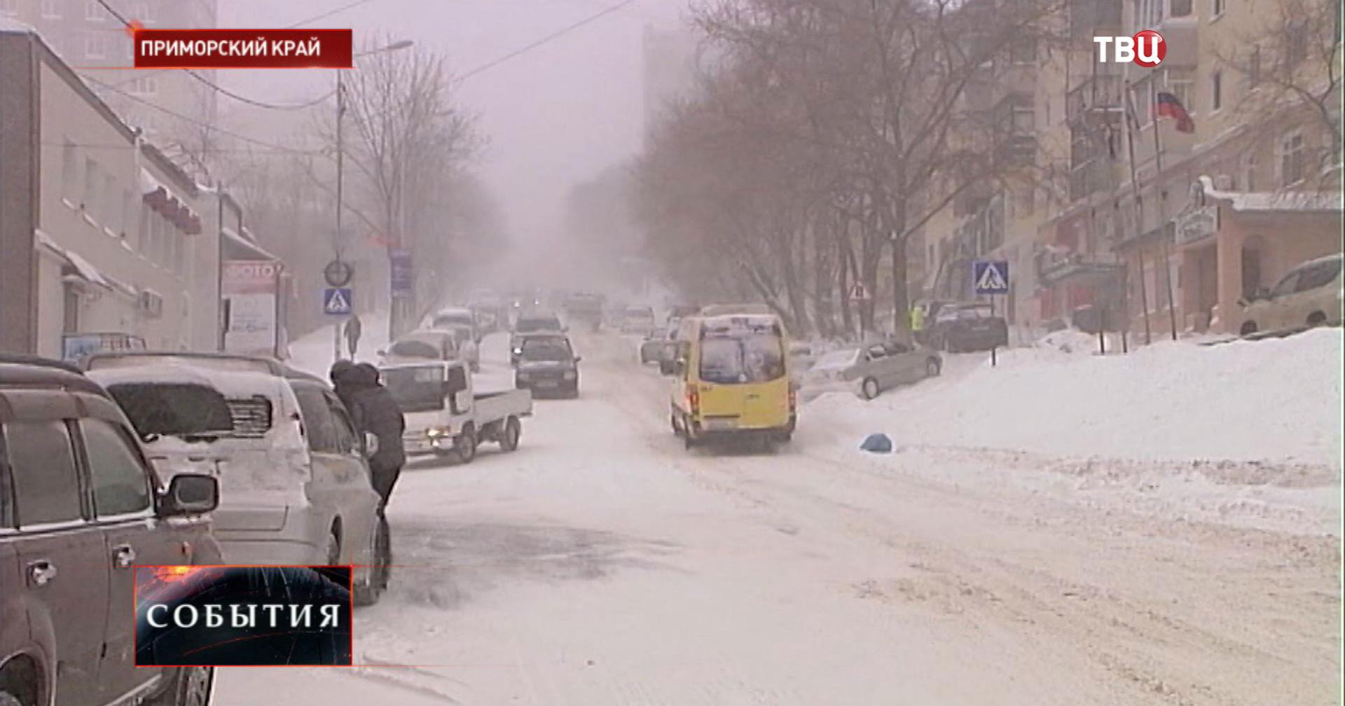 Сильный снегопад в Приморском крае