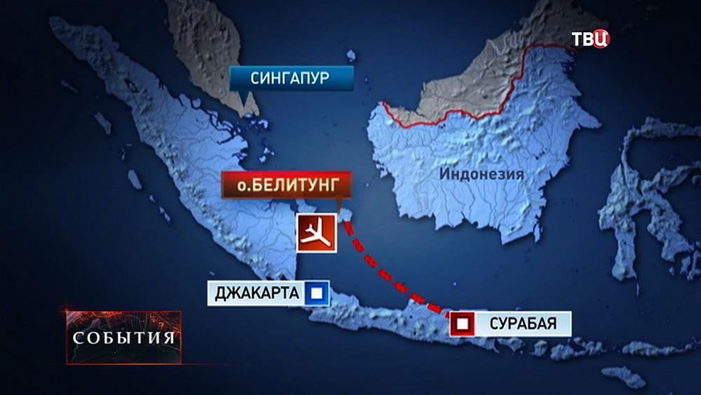 Место пропажи самолета AirAsia