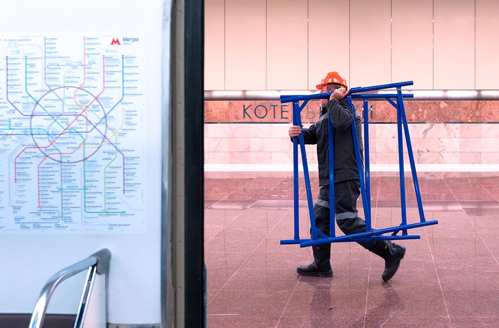 Строительные работы на станции метро «Котельники»
