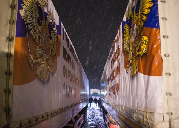 Автомобили одиннадцатого конвоя с гуманитарной помощью для жителей Донбасса