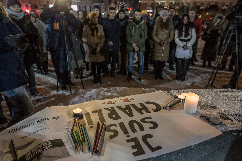 Траур по погибшим журналистам журнала Charlie Hebdo