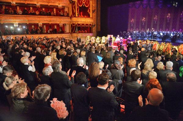 Церемония прощания с оперной певицей Еленой Образцовой в Большом театре