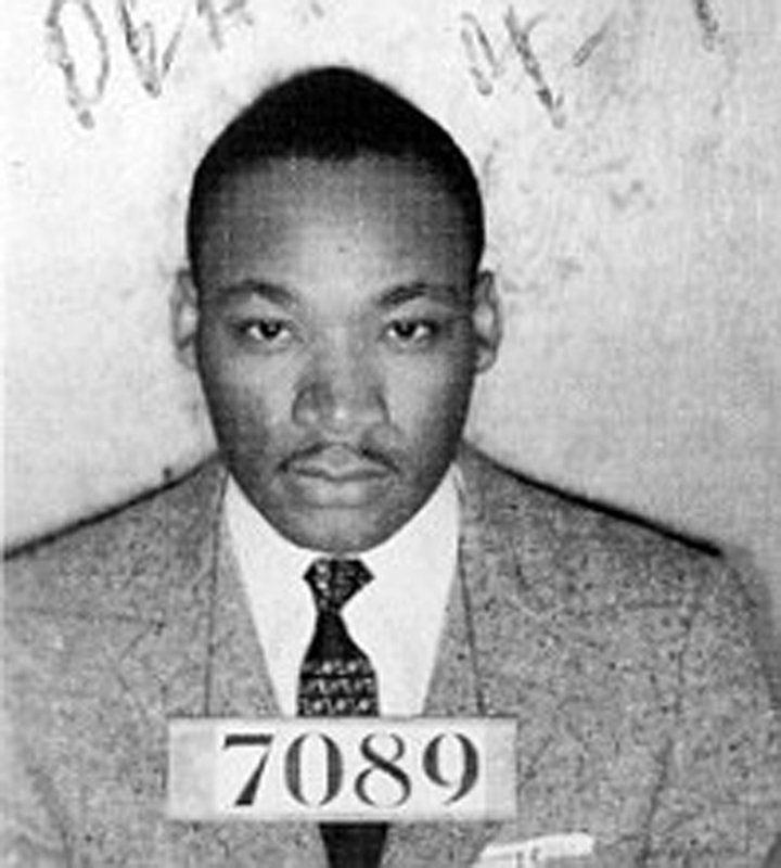 Арестованный Мартин Лютер Кинг