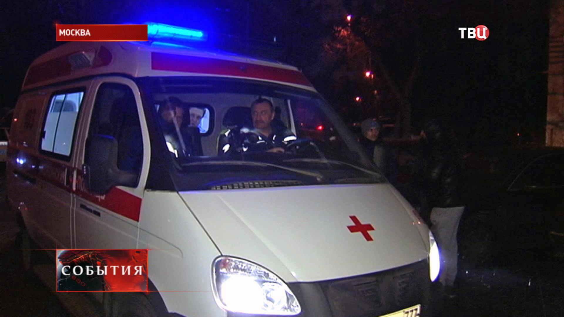 Скорая на месте пожара в Москве