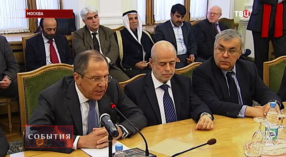 Глава МИД Сергей Лавров и представители противоборствующие стороны сирийского конфликта