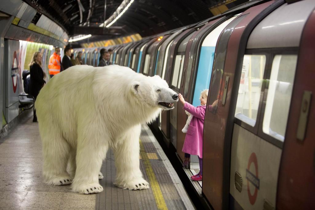 Полярный медведь в метро Лондона