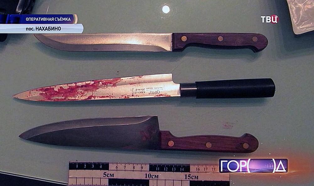 Ножи, обнаруженные сотрудниками полиции в поселке Нахабино