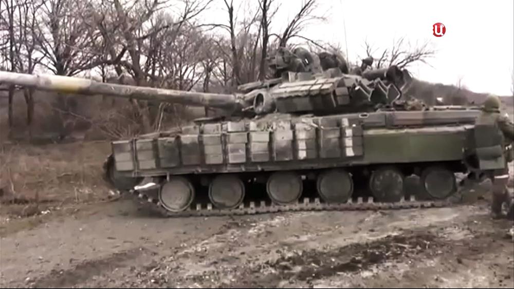 Подбиты танк украинской армии