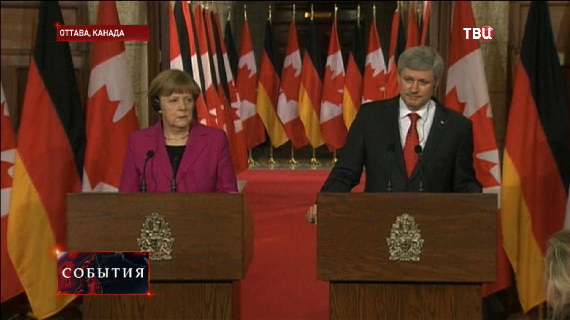 Канцлер Германии Ангела Меркель и премьер Канады Стивен Харпер