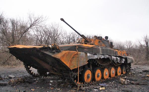 Сгоревшая украинская военная техника