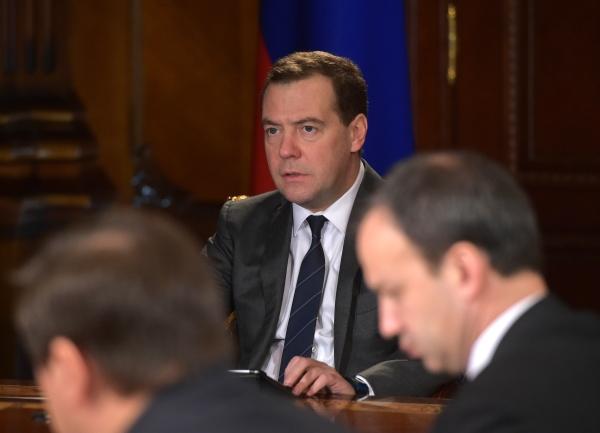 Председатель правительства РФ Дмитрий Медведев проводит совещание со своими заместителями