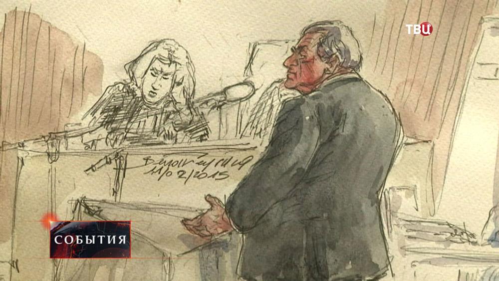 Бывший главы Международного валютного фонда Доминик Стросс-Кан на заседании суда