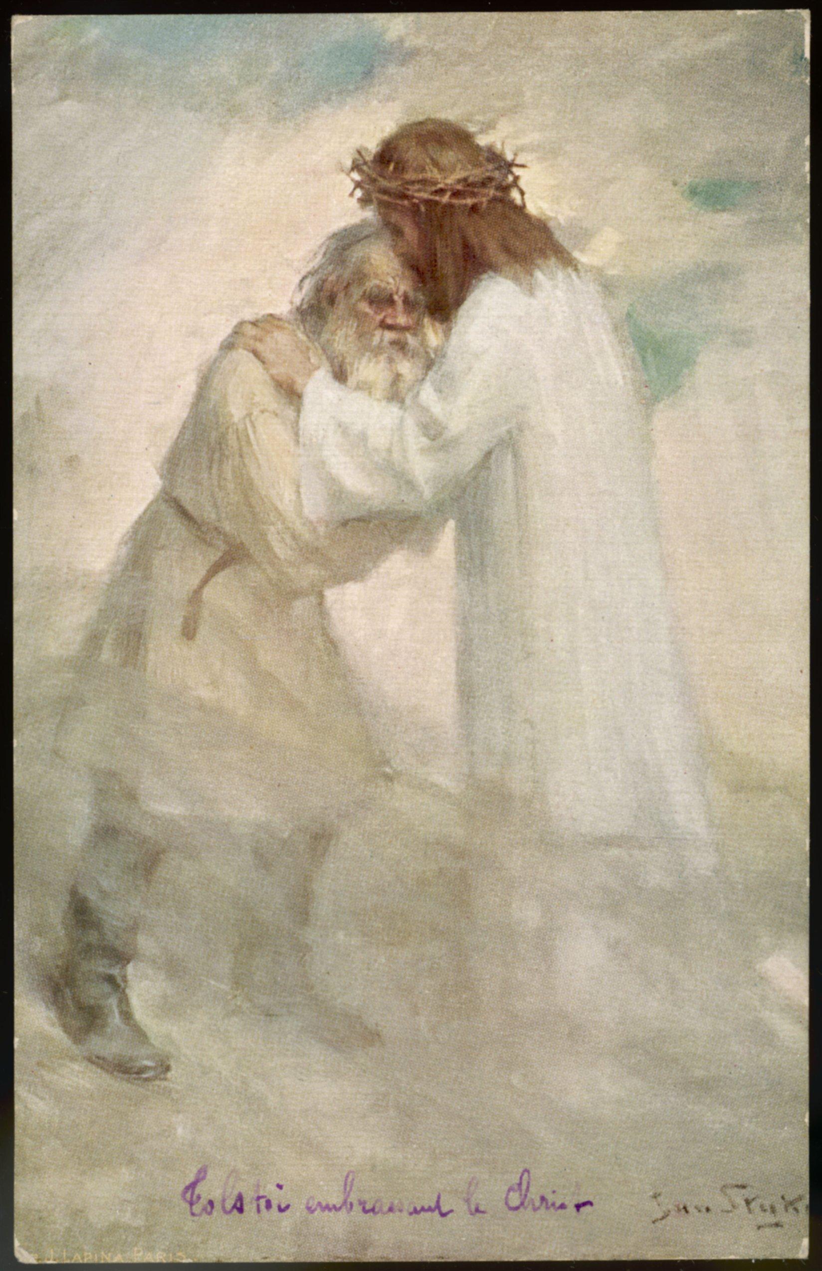 """Картина польского художника Яна Стыки """"Лев Толстой, обнимающий Христа"""""""
