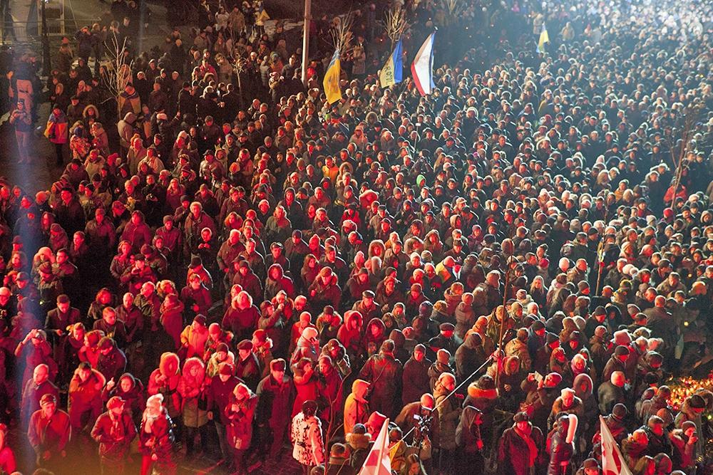 Траурные мероприятия на Майдане в Киеве