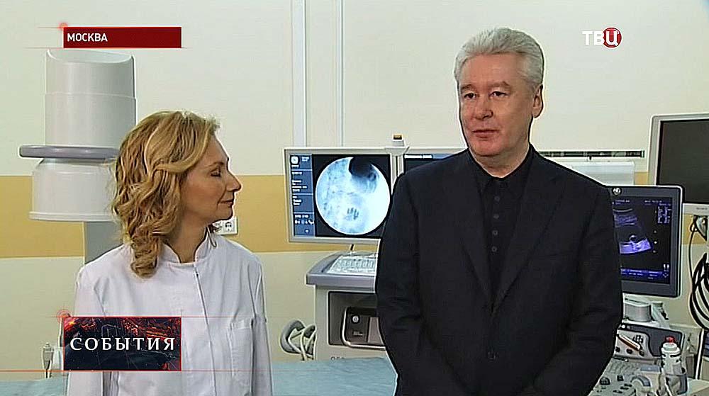 Сергей Собянин на открытии хирургическом корпусе в больнице № 29
