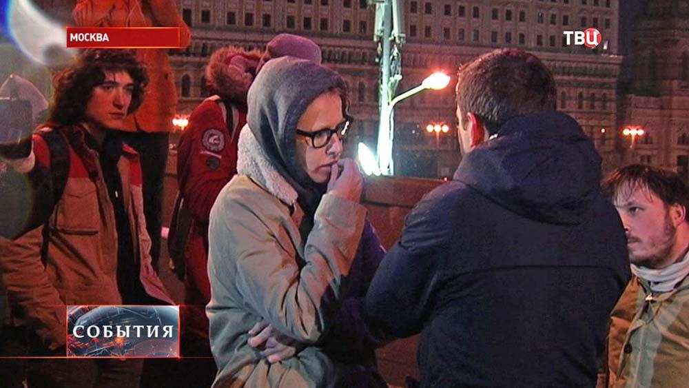 Ксения Собчак на месте убийства политика Бориса Немцова