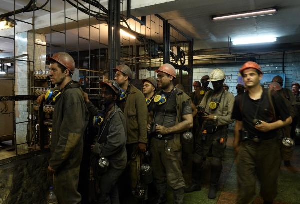 Работники шахты им. Засядько в Донецке