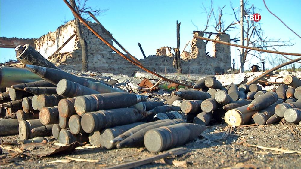 Собранные снаряды на юго-востоке Украины