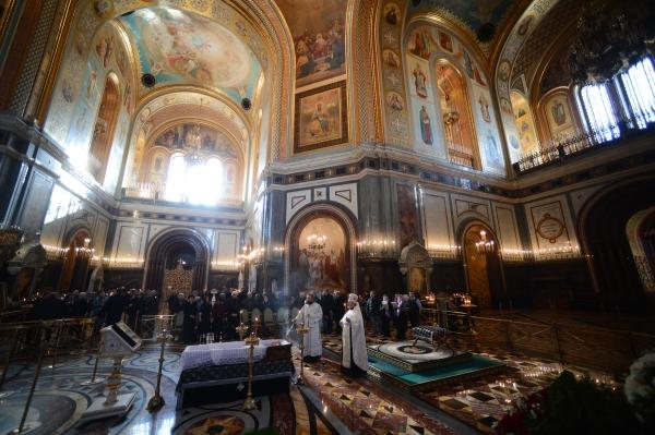Церемония прощания с писателем Валентином Распутиным в храме Христа Спасителя