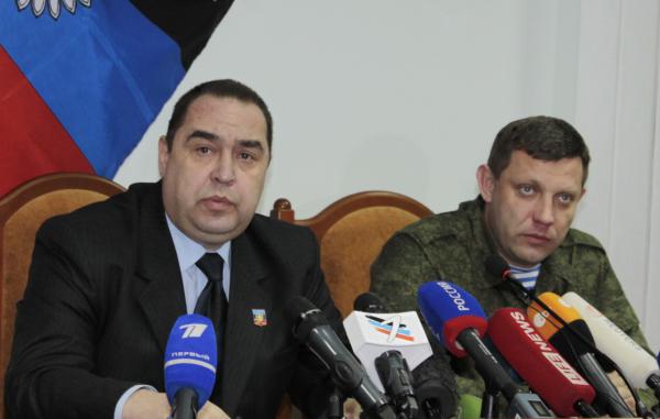 Главы самопровозглашенных Луганской и Донецкой народных республик Игорь Плотницкий и Александр Захарченко